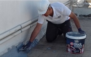dB Block application on a roof: Sealing, Vibration-Proof, with Thermal Insulating Properties