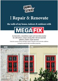"Leaflet ""Megafix - Repair & Renovate your walls indoors and out"""